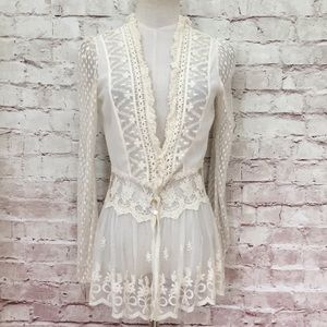 a'reve sheer lace long sleeve peplum Jacket top